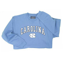 Carolina blue crewneck sweatshirt with Carolina in an arc over the interlocking NC.