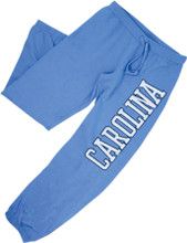 Women's cut Carolina blue sweatpants with a two color  Carolina screen printed down the leg