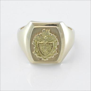 Satin Barrel Crest Ring