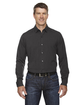 Carbon Heather 88802 Ash City - North End Sport Blue Central Ave Mélange Performance Shirt | Blankclothing.ca