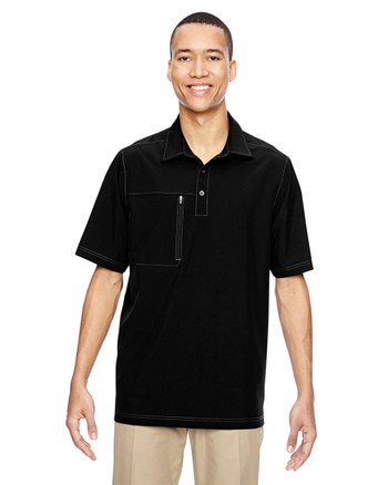 Black 85120 North End Excursion Crosscheck Performance Woven Polo | Blankclothing.ca