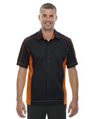 Black/Orange 87042T North End Tall Fuse Colourblock Twill Shirt | Blankclothing.ca