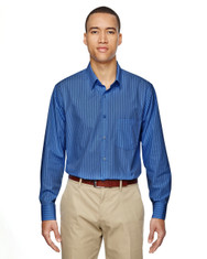 Deep Blue 87044 North End Align Wrinkle-Resistant Cotton Blend Dobby Vertical Striped Shirt