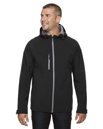 Black 88166 North End Prospect Two-Layer Fleece Bonded Soft Shell Hooded Jacket | Blankclothing.ca