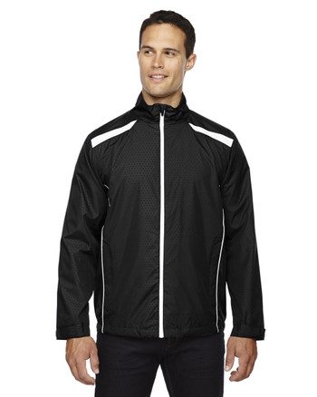 Black 88188 North End Lightweight Recycled Polyester Jacket with Embossed Print | Blankclothing.ca