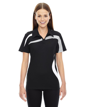 Black 78645 North End Sport Red Impact Performance Polyester Colourblock Polo Shirt