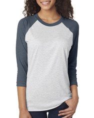 Indigo/Heather White 6051 Next Level Unisex Tri-Blend 3/4-Sleeve Raglan Tee | Blankclothing.ca