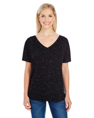 Black Fleck - 203FV Threadfast Ladies' Triblend Fleck Short-Sleeve V-Neck T-Shirt | Blankclothing.ca