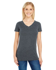 Vintage Charcoal - 208B Threadfast Ladies' Vintage Dye Short-Sleeve V-Neck T-Shirt | Blankclothing.ca