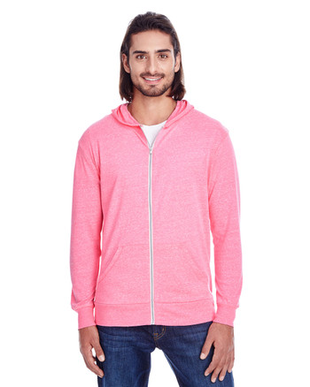 Neon Pink - 302Z Threadfast Unisex Triblend Full-Zip Light Hoodie | Blankclothing.ca