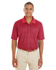Classic Red / Carbon - CE102 Ash City - Core 365 Men's Express Microstripe Performance Piqué Polo