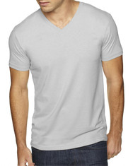 Light Grey - 6440 Next Level Men's Premium Fitted Sueded V-Neck Tee