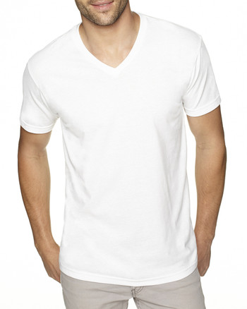 White - 6440 Next Level Men's Premium Fitted Sueded V-Neck Tee | Blankclothing.ca