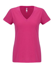 Raspberry - N6480 Next Level Ladies Sueded V-Neck Tee