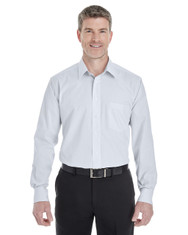 Silver / White - DG534 Devon & Jones Men's Crown Collection™ Striped Shirt