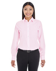 Pink / White - DG534W Devon & Jones Ladies' Crown Collection™ Striped Shirt