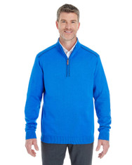 French Blue / Navy - DG478 Devon & Jones Men's Manchester Fully-Fashioned Half-Zip Sweater