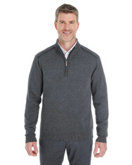 Dark Grey Heather / Black - DG478 Devon & Jones Men's Manchester Fully-Fashioned Half-Zip Sweater