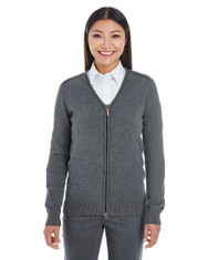 Dark Grey Heather / Black - DG478W Devon & Jones Ladies' Manchester Fully-Fashioned Full-Zip Sweater