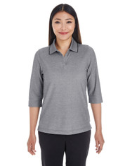 Dark Grey Heather - DG220W Devon & Jones Ladies' Pima-Tech™ Oxford Piqué Polo | Blankclothing.ca