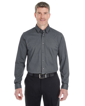 Dark Grey Heather - DG230 Devon & Jones Men's Central Cotton Blend Melange Button Down