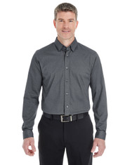 Dark Grey Heather - DG230 Devon & Jones Men's Central Cotton Blend Melange Button Down Shirt