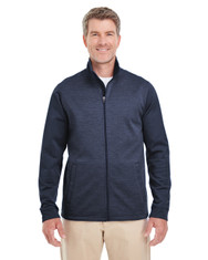 Navy / Navy Heather - DG796 Devon & Jones Men's Newbury Colorblock Mélange Fleece Full-Zip