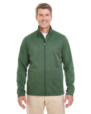 Forest / Forest Heather - DG796 Devon & Jones Men's Newbury Colorblock Mélange Fleece Full-Zip Sweater