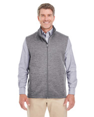 Dark Grey Heather - DG797 Devon & Jones Men's Newbury Mélange Fleece Vest