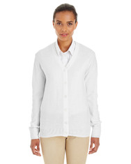 White - M425W Harriton Ladies' Pilbloc™ V-Neck Button Cardigan Sweater