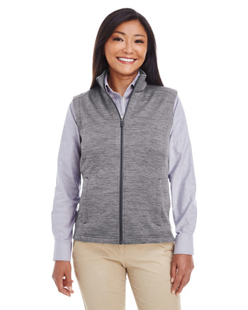 Dark Grey Heather - DG797W Devon & Jones Ladies' Newbury Mélange Fleece Vest