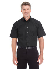 Black - D620S Devon & Jones Men's Crown Collection™ Solid Broadcloth Short Sleeve Shirt