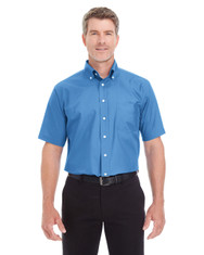 French Blue - D620S Devon & Jones Men's Crown Collection™ Solid Broadcloth Short Sleeve Shirt