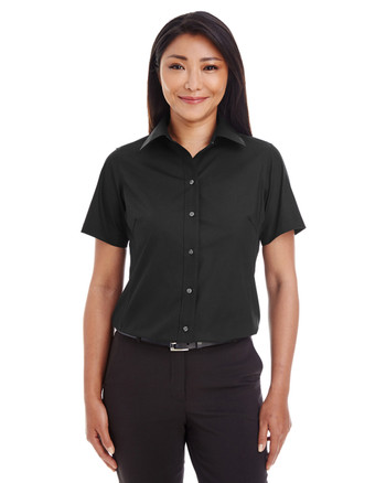 Black - D620SW Devon & Jones Ladies' Crown Collection™ Solid Broadcloth Short Sleeve Shirt | Blankclothing.ca