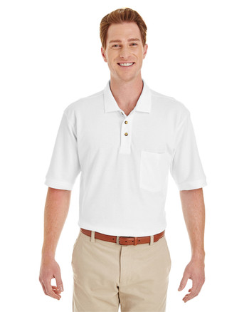 White - M200P Harriton Adult 6 oz. Ringspun Cotton Piqué Short-Sleeve Pocket Polo