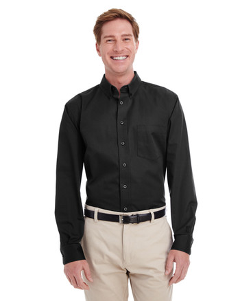 Black - M581 Harriton Men's Foundation 100% Cotton Long
