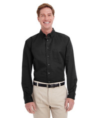 Black - M581T Harriton Men's Tall Foundation 100% Cotton Long Sleeve Twill Shirt with Teflon™