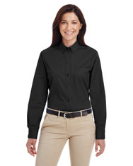 Black - M581W Harriton Ladies' Foundation 100% Cotton Long Sleeve Twill Shirt with Teflon™