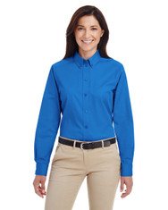 French Blue - M581W Harriton Ladies' Foundation 100% Cotton Long Sleeve Twill Shirt with Teflon™