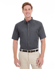 Dark Charcoal - M582 Harriton Men's Foundation 100% Cotton Short Sleeve Twill Shirt Teflon™
