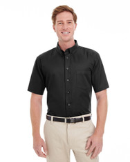 Black - M582 Harriton Men's Foundation 100% Cotton Short Sleeve Twill Shirt Teflon™