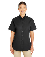 Black - M582W Harriton Ladies' Foundation 100% Cotton Short Sleeve Twill Shirt Teflon™