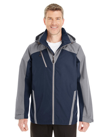 Navy/Graphite/Graphite - FRONT - NE700 Ash City - North End Men's Embark Colorblock Interactive Shell with Reflective Printed Panels | Blankclothing.ca
