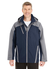 Navy/Graphite/Graphite - FRONT - NE700 Ash City - North End Men's Embark Colorblock Interactive Shell with Reflective Printed Panels