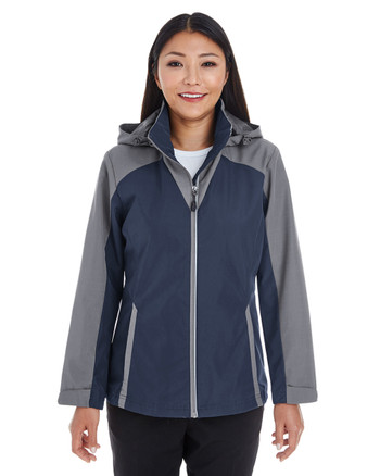 Navy/Graphite/Graphite - FRONT - NE700W Ash City - North End Ladies' Embark Colorblock Interactive Shell with Reflective Printed Panels | Blankclothing.ca