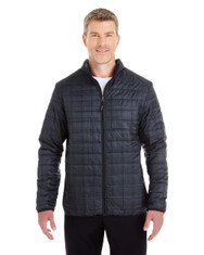 Grid - FRONT - NE701 Ash City - North End Men's Portal Interactive Printed Packable Puffer