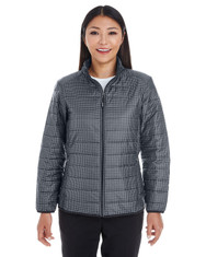 Houndstooth - FRONT - NE701W Ash City - North End Ladies' Portal Interactive Printed Packable Puffer | Blankclothing.ca
