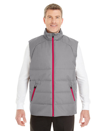 Graphite/Red - FRONT - NE702Prime Ash City - North End Men's Engage Interactive Insulated Vest