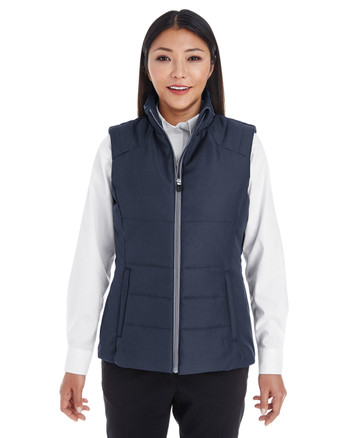Navy/Graphite - FRONT - NE702W Ash City - North End Ladies' Engage Interactive Insulated Vest Blankclothing.ca