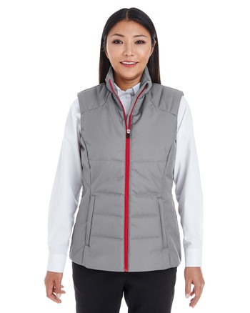 Graphite/Red - FRONT - NE702W Ash City - North End Ladies' Engage Interactive Insulated Vest